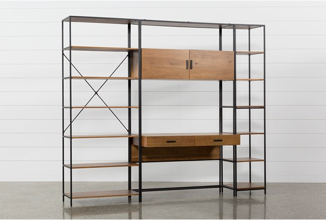 Hollis 3 Piece Desk With 33 & 17 Inch Bookcase Piers - 360