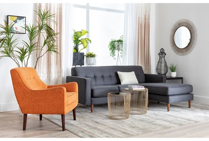 London Dark Grey Reversible Sofa Chaise Living Spaces