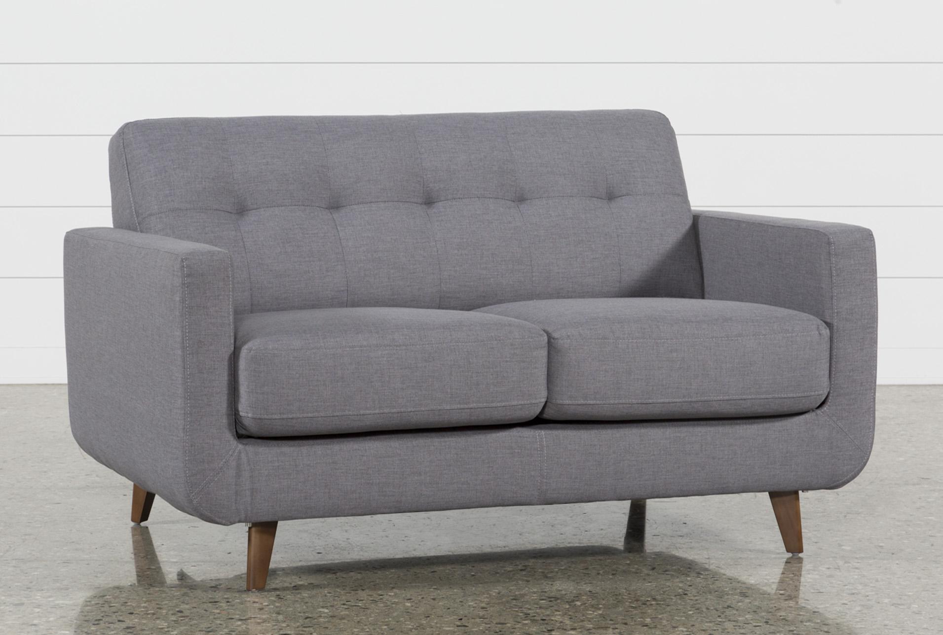 Loveseat Settee Mid Century W Wood Frame Gray Seat Finish Vintage Rustic Style