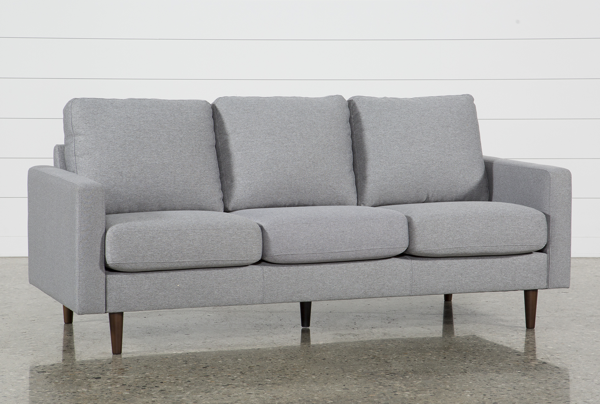 grey fabric sofas couches free assembly with delivery living rh livingspaces com small grey sofas small grey sofa with chaise