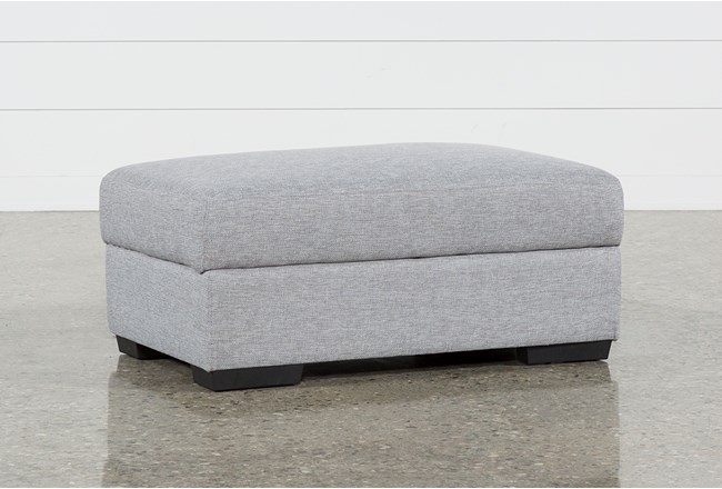 Lucy Grey Cocktail Storage Ottoman - 360