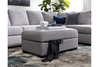 Lucy Grey Storage Cocktail Ottoman Living Spaces
