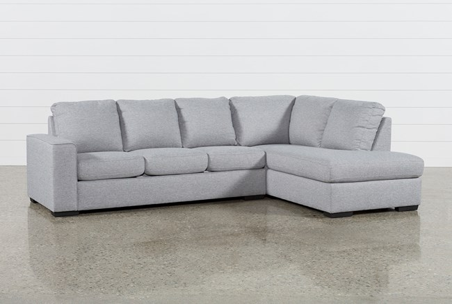 """Lucy Grey 2 Piece 114"""" Sectional with Right Arm Facing Chaise - 360"""