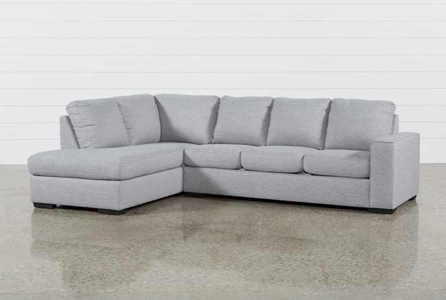 """Lucy Grey 2 Piece 114"""" Sectional With Left Arm Facing Chaise - 360"""