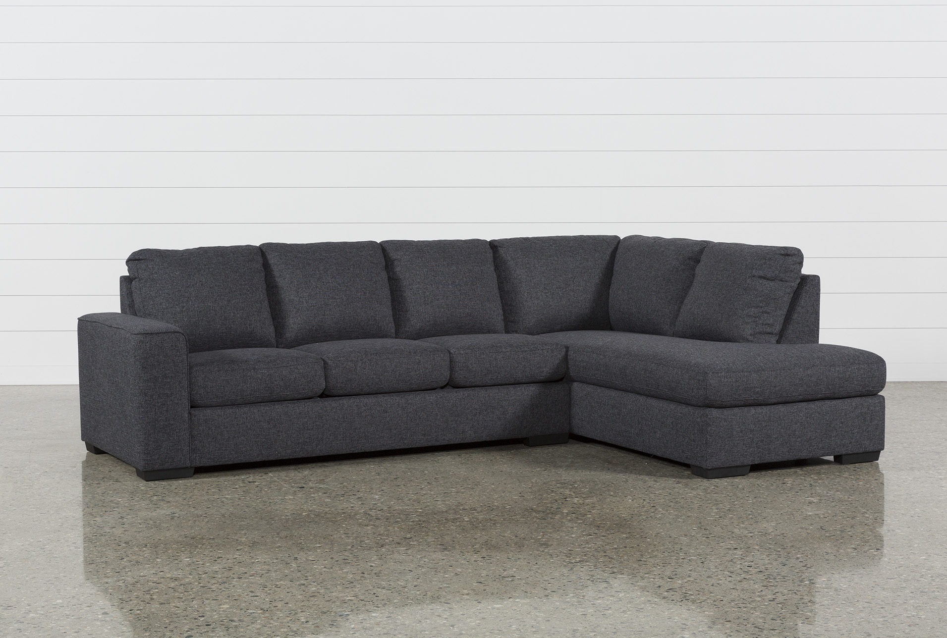 Lucy Dark Grey 2 Piece 114 Sectional With Right Arm Facing Chaise Living Spaces