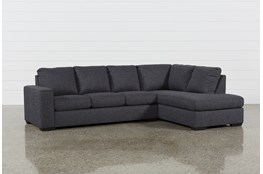 "Lucy Dark Grey 2 Piece 114"" Sectional With Right Arm Facing Chaise"