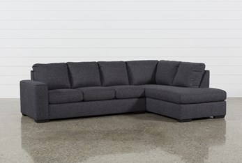 """Lucy Dark Grey 2 Piece 114"""" Sectional With Right Arm Facing Chaise"""