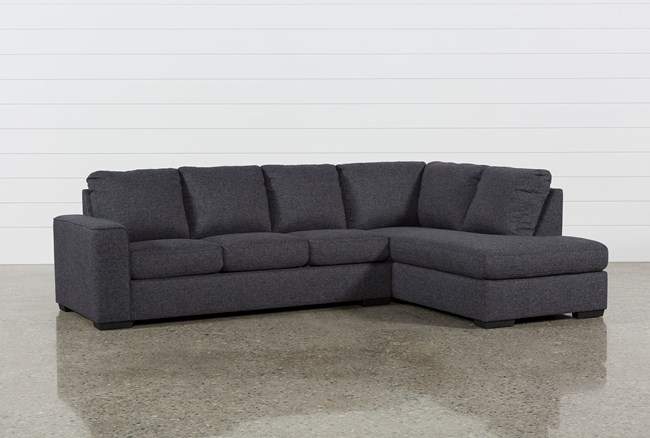 """Lucy Dark Grey 2 Piece 114"""" Sectional With Right Arm Facing Chaise - 360"""