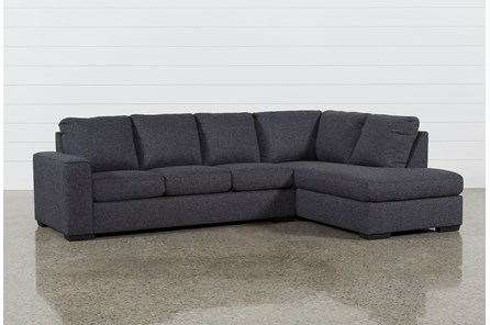 Lucy Dark Grey 2 Piece Sleeper Sectional W Raf Chaise Living Spaces