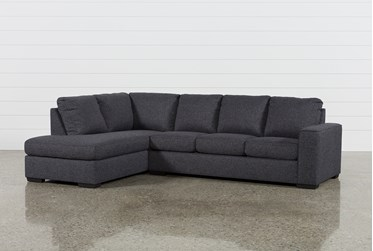 """Lucy Dark Grey 2 Piece 114"""" Sectional With Left Arm Facing Chaise"""