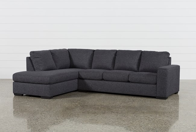 """Lucy Dark Grey 2 Piece 114"""" Sectional With Left Arm Facing Chaise - 360"""