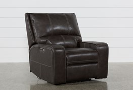 Clyde Grey Leather Power Recliner W/Power Headrest & Usb