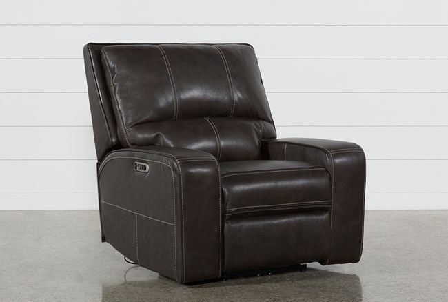 Clyde Grey Leather Power Recliner W/Power Headrest & Usb - 360