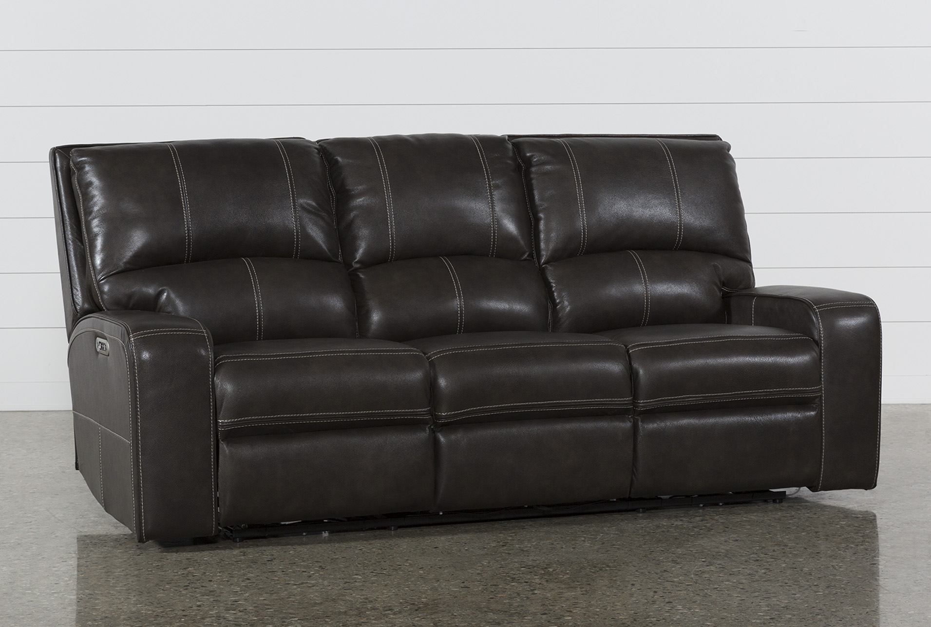 Clyde Grey Leather Power Reclining Sofa W Power Headrest Usb