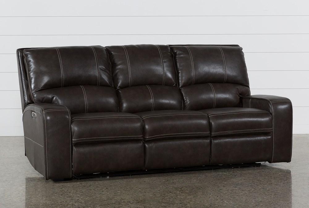 Clyde Grey Leather Power Reclining Sofa W/Power Headrest & Usb