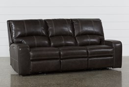 Clyde Grey Leather Power Reclining Sofa W/Power Headrest & Usb