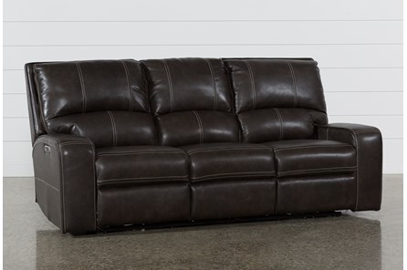 Clyde Grey Leather Power Reclining Sofa W/Power Headrest & Usb - Main