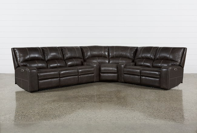 Clyde Grey Leather 3 Piece Power Reclining Sectional W/Pwr Hdrst & Usb - 360