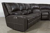 Clyde Grey Leather 3 Piece Power Reclining Sectional W/Pwr Hdrst & Usb - Left