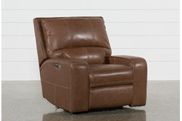Clyde Saddle Leather Power Recliner W/Power Headrest And Usb
