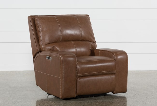 Clyde Saddle Leather Power Recliner W/Power Headrest And Usb - 360