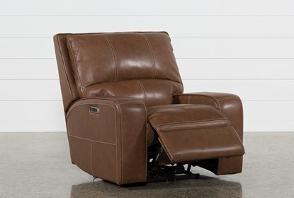 Phenomenal Clyde Saddle Leather Power Recliner W Power Headrest And Usb Caraccident5 Cool Chair Designs And Ideas Caraccident5Info