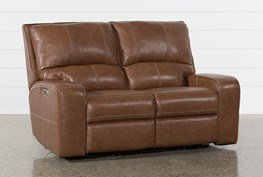 Clyde Saddle Leather Power Reclining Loveseat W/Power Headrest & Usb