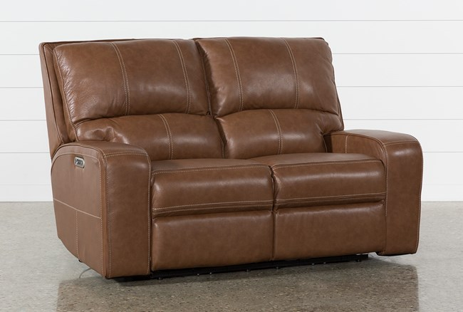 Clyde Saddle Leather Power Reclining Loveseat W/Power Headrest & Usb - 360