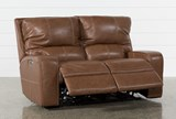 Clyde Saddle Leather Power Reclining Loveseat W/Power Headrest & Usb - Recline