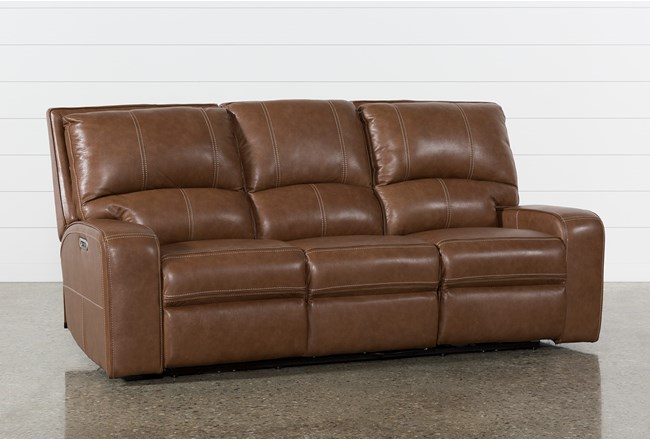 Clyde Saddle Leather Power Reclining Sofa W Power Headrest