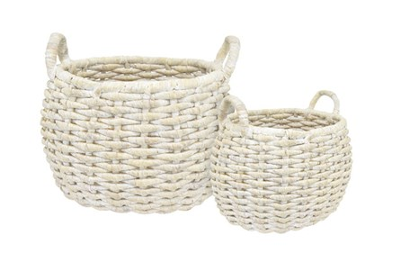 White Baskets Set Of 2