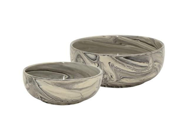 Black Marble Ceramic Bowls Set Of 2 - 360