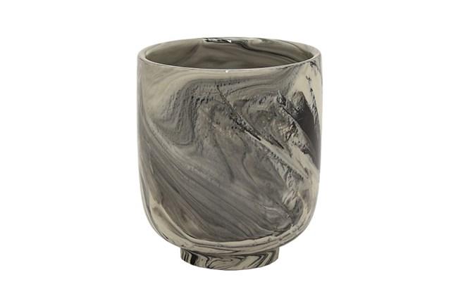 Black Marble Ceramic Planter - 360