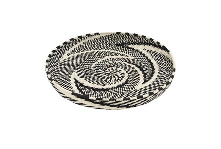 21 Inch Black And White Woven Tray