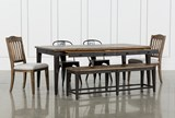 Foundry 6 Piece Dining Set With Upholstered And Metal Chairs - Drawers
