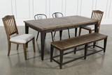 Foundry 6 Piece Dining Set With Upholstered And Metal Chairs - Top