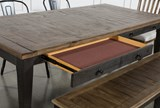 Foundry 6 Piece Dining Set With Upholstered And Metal Chairs - Drawer
