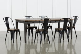 Foundry 7 Piece Dining Set With Metal Side Chairs