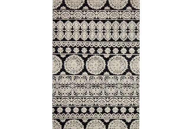 60X90 Rug-Magnolia Home Lotus Black/Silver By Joanna Gaines - 360