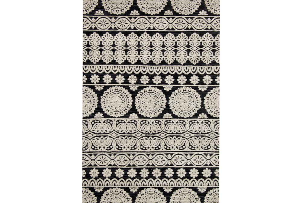 93X117 Rug-Magnolia Home Lotus Black/Silver By Joanna Gaines