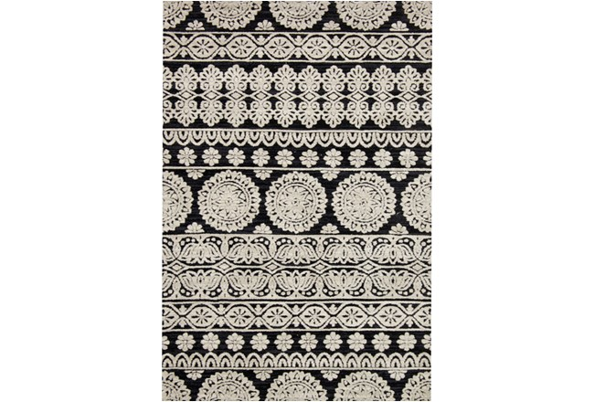 93X117 Rug-Magnolia Home Lotus Black/Silver By Joanna Gaines - 360