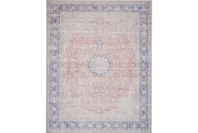 93X117 Rug-Magnolia Home Lucca Terracotta/Blue By Joanna Gaines - 360