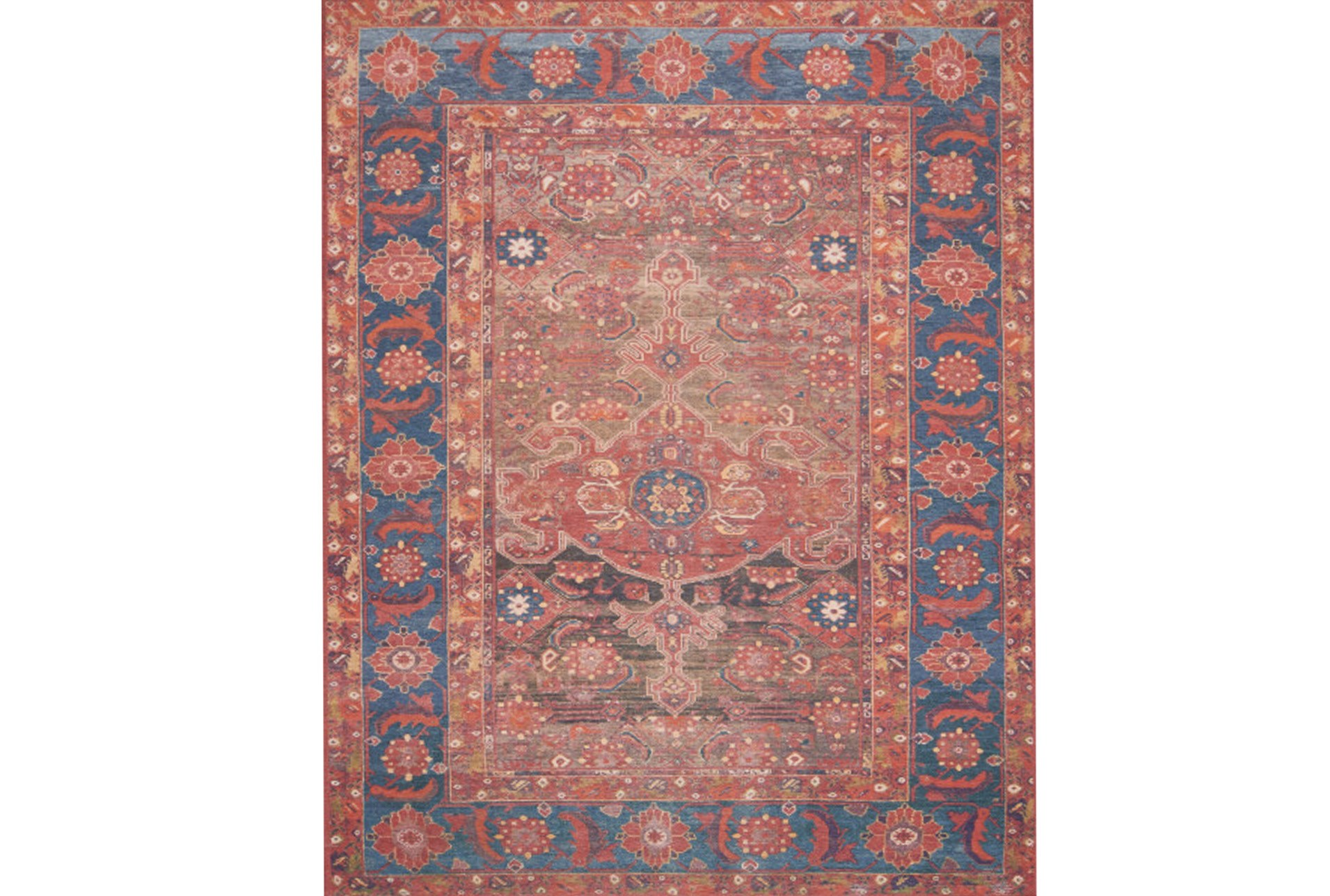 93x117 rug magnolia home lucca rust blue by joanna gaines qty 1 has been successfully added to your cart