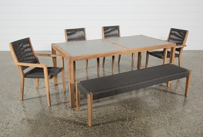 Outdoor Sienna Dining Table With 4 Arm Chairs And 1 Bench