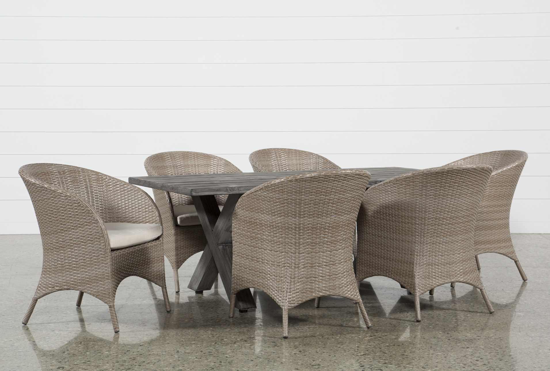 Outdoor Tortuga Dining Table With Ibiza Dining Chairs Living Spaces