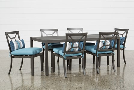 Outdoor Martinique II Rectangle Dining Table With 6 Aqua Chairs