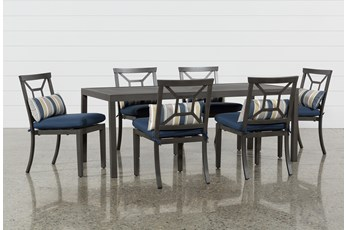 Martinique Outdoor Rectangle Dining Table With 6 Navy Chairs