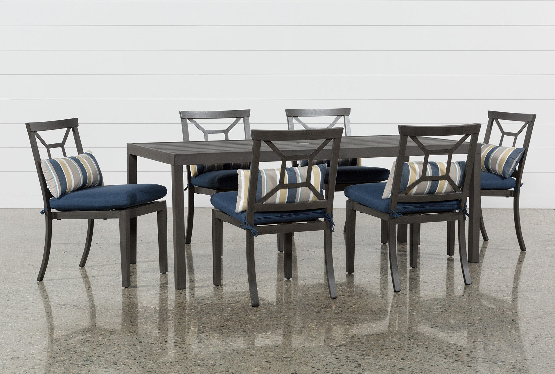 grey outdoor dining set patio dining outdoor martinique ii rectangle dining table with navy chairs patio furniture living spaces