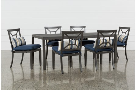 Outdoor Martinique II Rectangle Dining Table With 6 Navy Chairs - Main