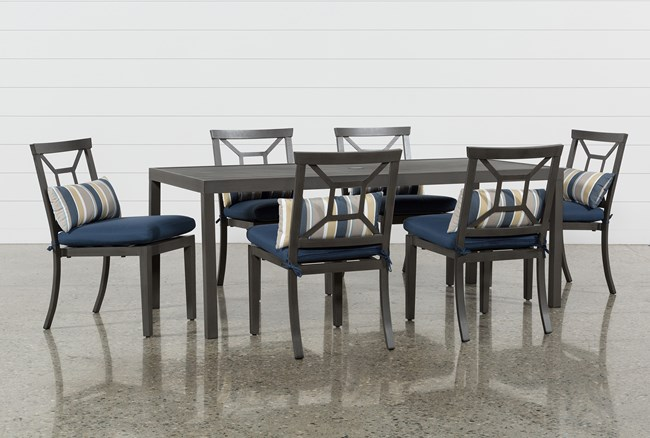 Outdoor Martinique II Rectangle Dining Table With 6 Navy Chairs - 360